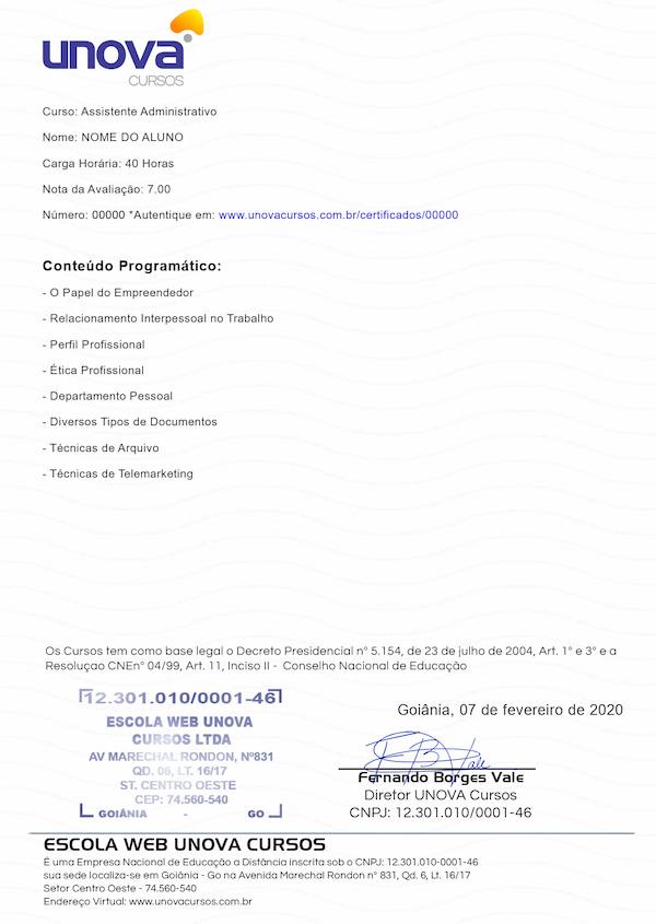 Certificado Verso Unova